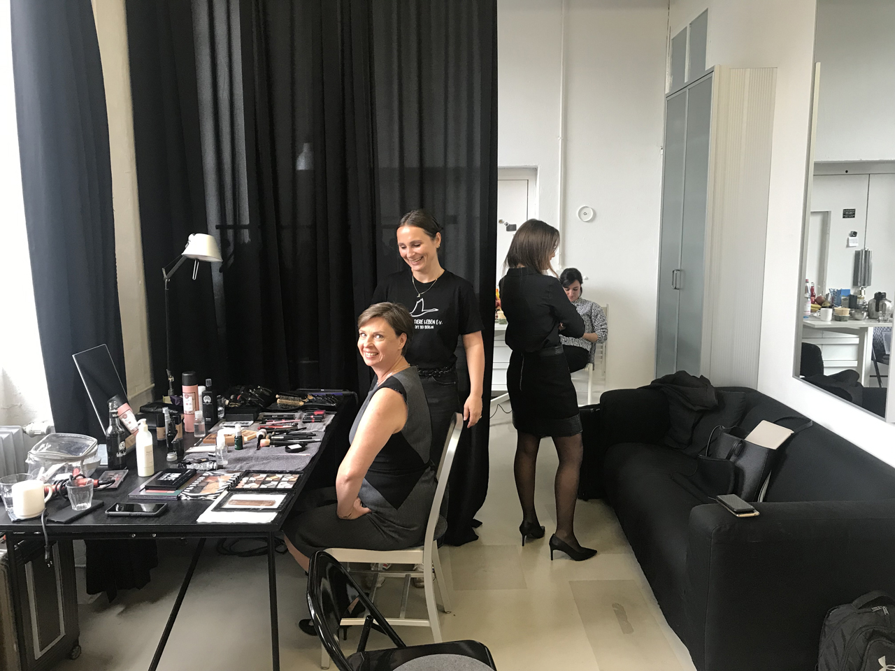 In makeup before the new brand shooting.