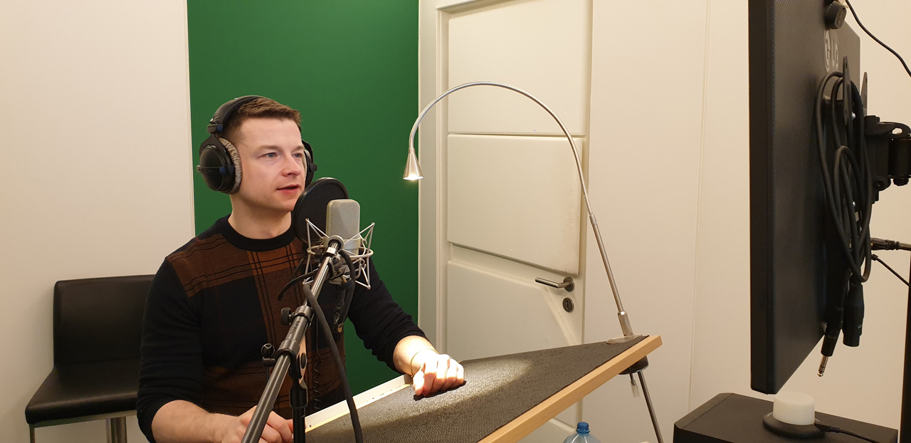 Recording the voice over for our firm video.